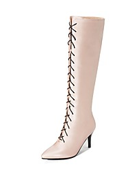 cheap -Women's Boots Knee High Boots Stiletto Heel Pointed Toe Ribbon Tie Faux Leather Knee High Boots Casual / Minimalism Walking Shoes Spring &  Fall / Fall & Winter Black / Purple / Beige