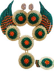 cheap -Women's Necklace Earrings Bracelet Beads Lucky Elegant Africa Earrings Jewelry Light Yellow / Green / Rainbow For Wedding Party Gift Daily Festival 1 set