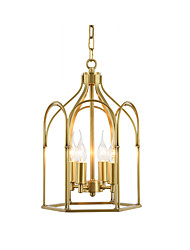 cheap -Pendant Lamp Metal Cages Chandeliers Chain Adjustable Antique Pendant Light Fixtures Dining Table Overhead Lights Gold 4 Lights Chandelier