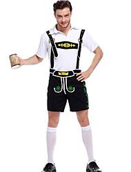 cheap -Oktoberfest Beer Outfits Lederhosen Men's Blouse Pants Bavarian Costume White