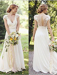 cheap -A-Line V Neck Sweep / Brush Train Lace Cap Sleeve Country / Romantic Illusion Detail / Backless Wedding Dresses with Appliques 2020
