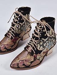 Недорогие -Жен. Ботинки На толстом каблуке Заостренный носок Полиуретан Ботинки Лето Черный