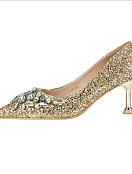 cheap -Women's Heels Kitten Heel PU(Polyurethane) Spring &  Fall Black / Silver / Red / Wedding