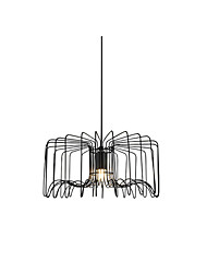 cheap -Pendant Lamp American Industrial Hanging Light Wire Adjustable Fashion Simple Wire Cages Shade Pendant Light for Kitchen Island Dining Table Black