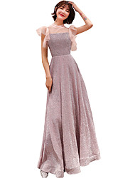 cheap -A-Line Elegant Sparkle & Shine Prom Dress High Neck Short Sleeve Floor Length Sequined with 2020