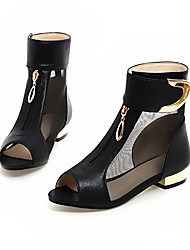 cheap -Women's Boots Flat Heel PU(Polyurethane) Booties / Ankle Boots Summer Gold / Black / Silver