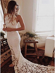 cheap -Mermaid / Trumpet High Neck Chapel Train Lace / Satin Regular Straps Made-To-Measure Wedding Dresses with Lace 2020