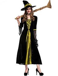 cheap -Witch Dress Cosplay Costume Masquerade Adults' Women's Cosplay Halloween Christmas Halloween Carnival Festival / Holiday Satin / Tulle Plush Fabric Black Women's Carnival Costumes Patchwork Holiday