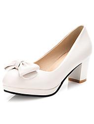cheap -Women's Heels Chunky Heel Round Toe Bowknot PU(Polyurethane) Sweet / Minimalism Summer Black / Beige / Pink / Wedding / Party & Evening