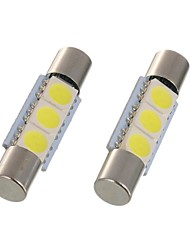 cheap -2pcs 28mm 29mm LED Festoon Light C5W 6614F TS-14V1C Car Interior Lamp 3 SMD 5050 Xenon White For Car Vanity Mirror Light Dome Light Reading Light