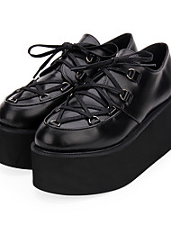 cheap -Women's Lolita Shoes Punk Wedge Heel Shoes Solid Colored 8 cm Black Ink Blue Red PU Leather / Polyurethane Leather Halloween Costumes