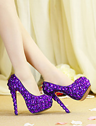 cheap -Women's Wedding Shoes Stiletto Heel Round Toe Crystal / Sparkling Glitter PU(Polyurethane) Vintage / Sweet Spring &  Fall / Spring & Summer Purple / Party & Evening