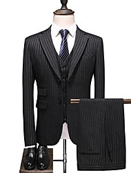 cheap -Black Striped Standard Fit Polyester Suit - Notch Single Breasted Two-buttons