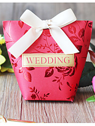 cheap -Taper Shape Card Paper Favor Holder with Ribbons Gift Boxes - 50 Pieces