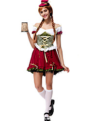 cheap -Oktoberfest Beer Dirndl Trachtenkleider Women's Blouse Dress Hat Bavarian Costume Red