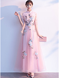 cheap -A-Line Elegant & Luxurious Elegant Formal Evening Dress High Neck Half Sleeve Floor Length Lace Satin Tulle with Appliques 2020