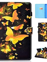 Недорогие -Кейс для Назначение SSamsung Galaxy Tab 4 10.1 / Tab S4 10.5 (2018) / Tab A2 10.5(2018) T595 T590 Бумажник для карт / Защита от удара / со стендом Чехол Бабочка Твердый Кожа PU