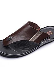 cheap -Men's Comfort Shoes PU Summer Casual Slippers & Flip-Flops Non-slipping Black / Brown / Khaki