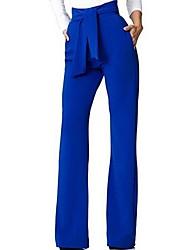 abordables -Femme Basique Chino Pantalon - Couleur Pleine Noir Vin Blanche S M L
