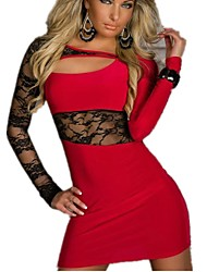 cheap -Women's Street chic Elegant Bodycon Dress - Solid Colored Lace Patchwork Black Red M L XXL