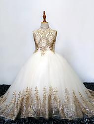 cheap -Princess Sweep / Brush Train Wedding / Birthday / Pageant Flower Girl Dresses - Tulle Sleeveless High Neck with Crystals / Rhinestones