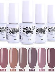 abordables -vernis à ongles 6 pcs couleur 169-174 xyp soak-off uv / led gel vernis à ongles couleur unie vernis à ongles définit