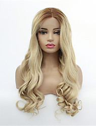 cheap -Synthetic Lace Front Wig Wavy Middle Part Lace Front Wig Blonde Medium Length Medium Brown / Bleached Blonde Synthetic Hair 8-26 inch Women's Synthetic Blonde