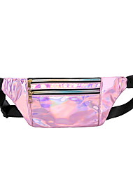cheap -Women's Bags PU Leather Fanny Pack Zipper Bum Bag Daily Black Red Blushing Pink Silver