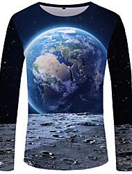 cheap -Men's Plus Size Color Block T-shirt Basic Daily Wear Round Neck Blue / Long Sleeve