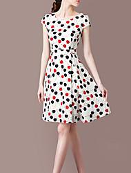 cheap -Women's Shirt Dress - Polka Dot Print Black White Red M L XL XXL