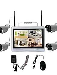 Недорогие -4-канальный 12-дюймовый жидкокристаллический экран домашний diy беспроводная система видеонаблюдения nvr kit