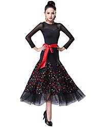 cheap -Ballroom Dance Dress Pattern / Print Split Joint Women's Training Performance Long Sleeve Spandex Ice Silk