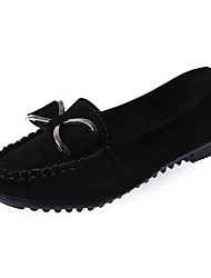 cheap -Women's Loafers & Slip-Ons Moccasin Flat Heel Bowknot PU Casual Summer Black / Yellow / Red / Daily