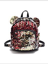 cheap -Adjustable PU Sequin / Zipper Commuter Backpack Daily Blue / Black / Rainbow