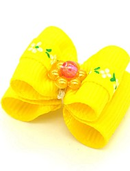 cheap -Dogs Ornaments Hair Accessories For Dog / Cat Bowknot Decoration Geometric Flower / Floral Metalic Polyester Rubber Yellow Pink