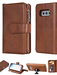 cheap -Case For Samsung Galaxy S20+ S20Ultra S20FE S10 S10E S9 S9 Plus S8 Plus Wallet / Card Holder / Shockproof Full Body Cases Solid Colored Hard PU Leather