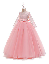 cheap -Princess Floor Length Wedding / Pageant Flower Girl Dresses - Polyester / Lace / Tulle Long Sleeve Jewel Neck with Lace / Belt / Bow(s)
