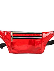 cheap -Women's Zipper PU Leather Fanny Pack Bum Bag Black / Red / Blushing Pink