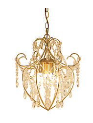 cheap -3-Light Vintage Metal/Crystal Chandelier Antique Iron Art Chandelier with Clear Hanging Crystal Ceiling Light Fixture Hanging Height Adjustable Golden