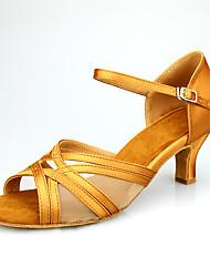 cheap -Women's Latin Shoes Heel Flared Heel khaki Ankle Strap Satin / Performance / Practice