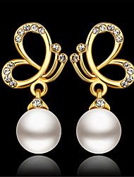 cheap -Women's White Cubic Zirconia Drop Earrings Classic Butterfly Stylish Imitation Pearl Earrings Jewelry Gold For Party Daily 1 Pair