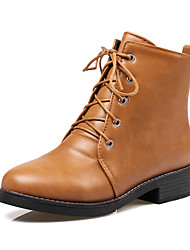 cheap -Women's Boots Chunky Heel Round Toe PU(Polyurethane) Booties / Ankle Boots British / Preppy Fall & Winter Black / Brown / Beige