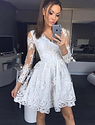 cheap -Women's White Dress A Line Geometric V Neck Lace S M