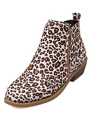 cheap -Women's Boots Print Shoes Low Heel Round Toe Stitching Lace Satin Booties / Ankle Boots Casual Walking Shoes Fall & Winter Black / Brown / Leopard