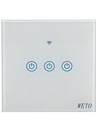 cheap -WETO W-T13 EU/US/CN 3 Gang WiFi Smart Wall Switch Touch Sensor Switch Smart Home Remote Control Works With Alexa Google Home via Smart Phone