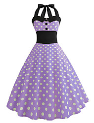 cheap -Audrey Hepburn Country Girl Polka Dots Retro Vintage 1950s Rockabilly Dress Masquerade Women's Costume Purple Vintage Cosplay School Office Festival Sleeveless Medium Length A-Line
