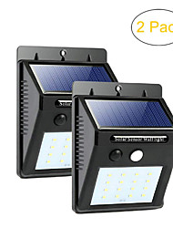 cheap -ZDM 2PCS Waterproof LED Solar Sensor Lights Outdoor Super Bright 20 LEDs Cold White with Motion Activated Auto On/Off