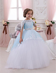 cheap -Princess Floor Length Wedding / Birthday / Pageant Flower Girl Dresses - Lace / Tulle Short Sleeve Jewel Neck with Lace / Appliques / Crystals / Rhinestones