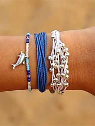 cheap -3pcs Women's Bead Bracelet Loom Bracelet Beads Dolphin Bohemian Sweet Fashion Cord Bracelet Jewelry Blue For Party Gift Holiday