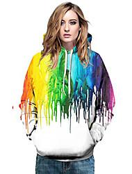 cheap -Women's Plus Size Pullover Hoodie Sweatshirt Geometric Color Block 3D Casual Basic Hoodies Sweatshirts  Loose White Black